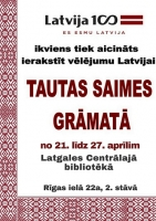 Latvijas simtgadei veltītā Tautas Saimes grāmata Latgales Centrālajā bibliotēkā