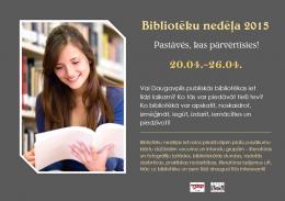 Tuvojas Bibliotēku nedēļa ar plašu pasākumu programmu Daugavpils publiskajās bibliotēkās
